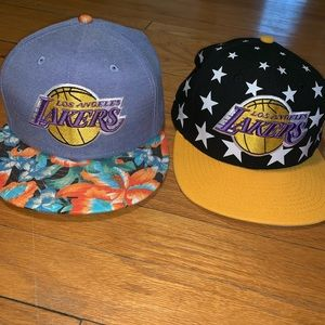 TWO Los Angeles Lakers hats